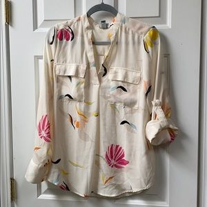 Mixed Media Floral Blouse